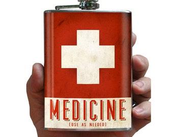 Medicine flask - stainless steel - 8oz.