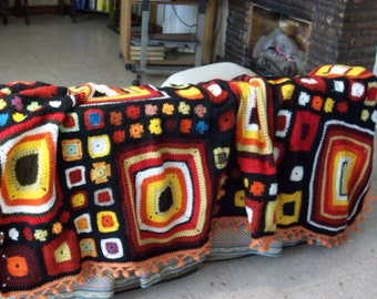 WINTER  END !!!!  before 170.00 ,  now  150.00.granny afghan blanquet-quilt  -  Home decor/  stitched/ knit crochet/ oversize