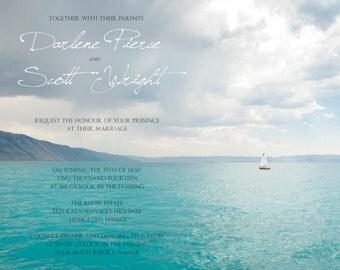 25 cards per set- wedding card invitations  - sailboat and lake