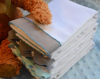 MOTHER GOOSE, Burp Cloth Bundle, newborn gift set, 4 coordinating cloths in grey and blue