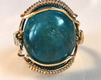 CIJ 14K Gold Filled Turquoise Ring