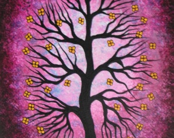 Spring, TREE painting, flowers, branches, Original Acrylyc painting by Jordanka Yaretz