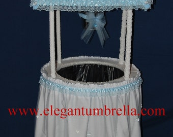 Blue Satin Lace Wishing Well (barrel not included)