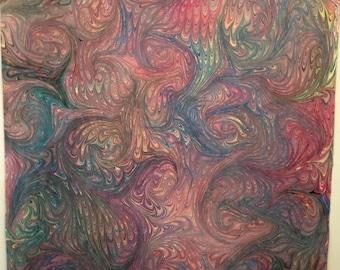 Hand Marbled Pima Cotton One Yard Freehand ART Yardage