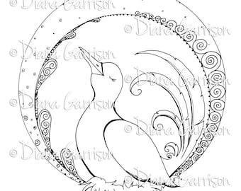 Art Deco Bird Digi Digital Stamp