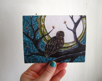 Watchful, owl, illustrated blank card,  full moon, nature rustic, flat matte finish