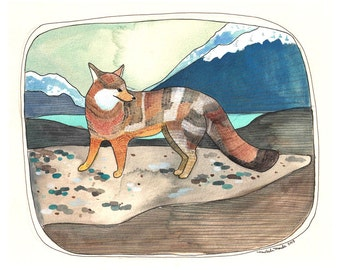 Fox Print - Grey Fox Art Print - Print of Watercolor Painting - Fox Artwork - Northwest Animal Art - Animal Artwork - 5x7 Print - Grey Fox