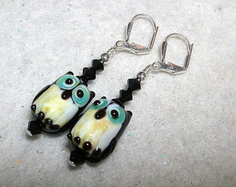 Owl Earrings Black and Blue Owls HOOT