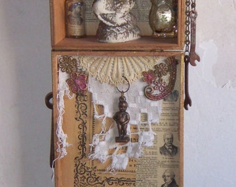 Assemblage Art - SHADOW BOX - Angel Watch Over Me - Vintage 3D Found Objects -1176