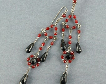 Red and Black Glass and Sterling Silver Chandelier Earrings - CLEARANCE