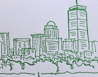 Boston - eight letterpress note cards