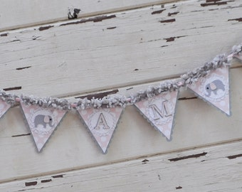 Girl Elephant High Chair Banner- Pink and Grey- 1st Birthday