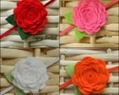 Wool Felt Rosette Flower on a Skinny Elastic Headband or Alligator Clip - Choose Any Color - Custom Size