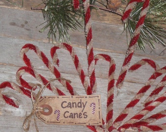 Set of 12 - Primitive Country Christmas Holiday Chenille Mini Red & White Candy Canes Bowl Fillers Ornies Tree Ornaments