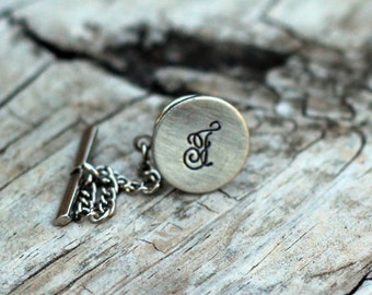 Custom Hand Stamped Tie Tack Cursive Font