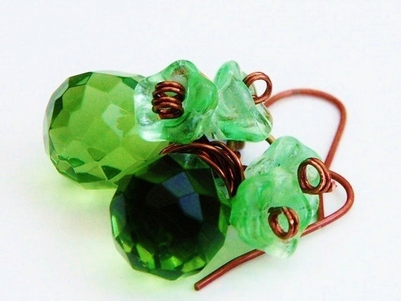 Earrings 'ABSINTHE'  Green Crystal Glass Flower Earrings and Bronze Hand wired