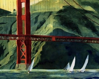 Golden Gate San Francisco Landscape Art Print of my watercolor painting California