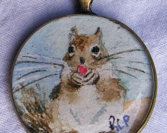 Sqirrel Painting Original Art Jewelry Necklace Pendant Miniature