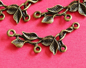 Lead free 20pcs Antique Bronze Branch Twig with Leaf Connector Pendants