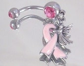 Breast Cancer Pink Ribbon Angel Surgical Steel 316L Navel Belly Ring Pink CZ Survivor Awareness Warrior Silver Oxidized Non Tarnish