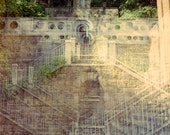 the secret altar: surreal photography. abandoned church photo. gothic decor. secret garden mystical art. multiple exposure fine art photo.