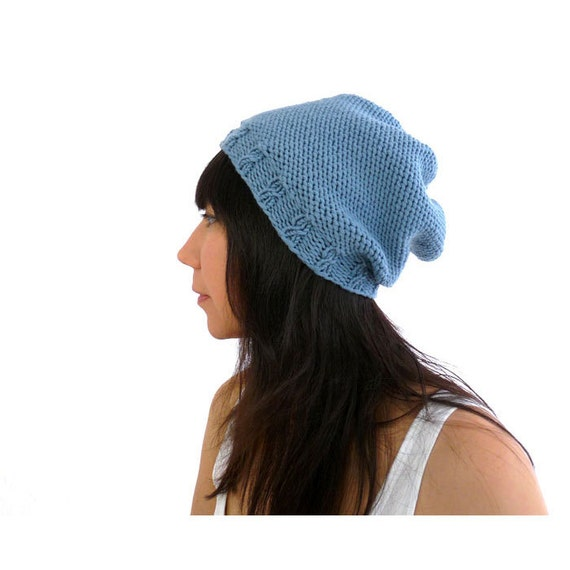 Cashmere Merino Hand Knit Slouch Hat. Soft. Sky / Cornflower Blue. Romantic Spring / Winter Fashion.