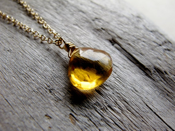 Honey. Citrine Necklace, Yellow Stone on 14k Gold Filled, Gemstone chain necklace