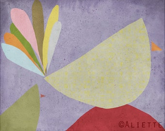 Pastelle 04 - Children Art Print  - Illustration - Nursery wall art - Baby room decor - Bird - Hen  -Abstract - Minimalist - Grey Purple Red