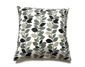 Decorative Pillow Cover Black White Gray Taupe Leaf-Vine Design Toss Throw Accent Cover16 inch