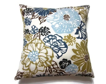 Decorative Pillow Cover Navy Blue Baby Blue Olive Green Black White Brown Floral Same Fabric Front/Back Toss Accent Throw Cover 18x18 inch x
