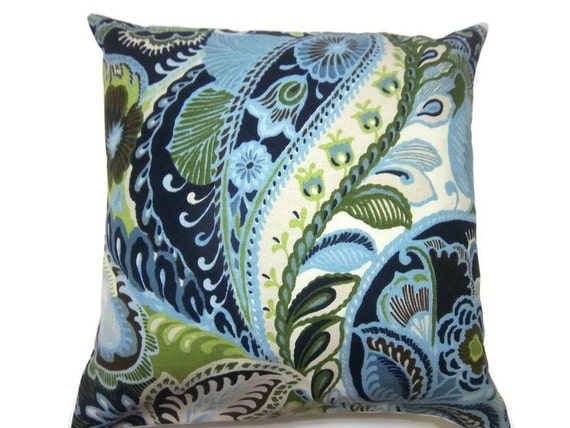 Decorative Pillow Cover Blue Chartreuse White Brown Paisley Toss Throw Accent Pillow Cover Same Fabric Front/Back 18x18 inch