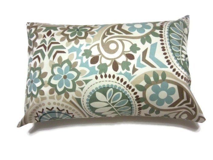 Decorative Pillow Cover Blue Sage Green Taupe Brown Lumbar
