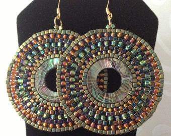 Beaded Abalone Earrings Large Seed Bead Earrings Beadwork Sea Shell Jewelry