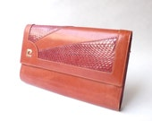 Pierre Cardin Leather and Snakeskin Clutch Purse