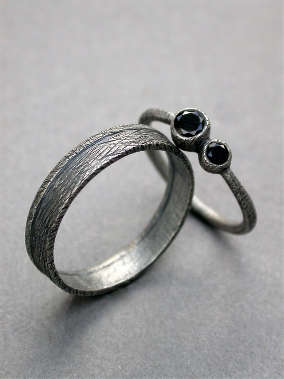 black spinel engagement ring rustic eclectic by