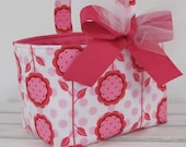 Easter Candy Basket Egg Hunt Fabric Bucket Storage Organizer - Pink Mod Blooms  - PERSONALIZED/ Name Tag Available - See Note in Listing