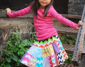 The MUST HAVE - chevron twirl 2 tier patchwork  toddler girls skirt  2t - 6y