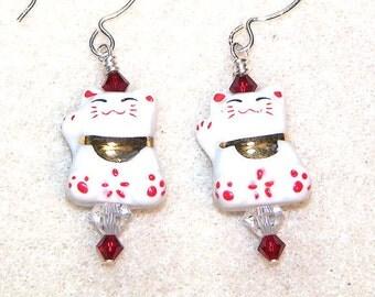 Kitty - glass lampwork and sterling silver cat earrings - dangle earrings - drop earrings