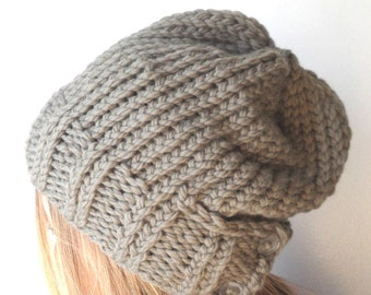 knit hat PATTERN, womens knit hat, slouchy knit hat, buttons, soft merino wool, augustyn