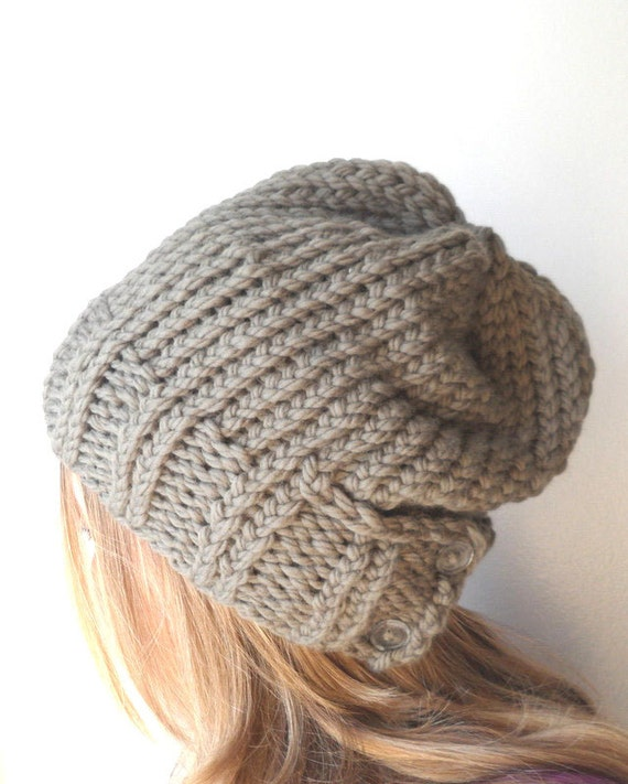 Knitting Pattern Hat With Button : Items similar to knit hat PATTERN, womens knit hat ...