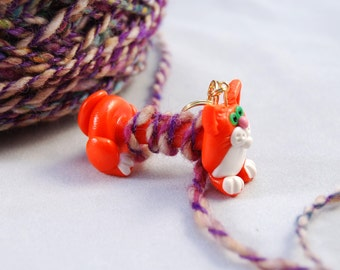 Orange Kitty Cat WPI tool gauge for handspun or any yarn