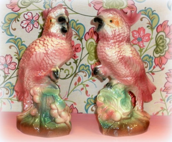 Retro Chic  Mid Century Modern Pink Cockatoo Figurines, Kitsch Beach Decor, Retro Tropical Beach Decor