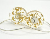 24K Gold Leaves Earrings, Resin Earrings Real 24K Gold Leaves In Sterling Silver