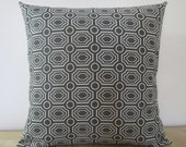 Gray and Natural Ivory Geometric Jaquard  Woven decorative throw pillow cover 18 x18 inches Accent cushion sham slipcover.