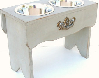 Dog Feeding Stand Bowl Holder Elevated Dog Bowls Shabby Cottage Grey Pet Furniture Custom