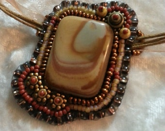 Sale Butterscotch Swirl Jasper Bead Embroidered Necklace