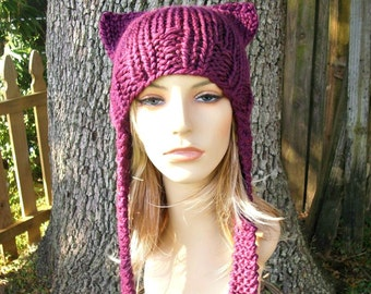 Knit Hat Womens Hat - Ear Flap Cat Hat in Clematis Red Violet Purple Knit Hat - Purple Ear Flap Hat Purple Hat Womens Accessories Winter Hat