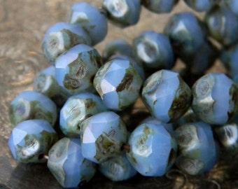Cornflower Pebbles (10) -Czech Glass Central Cut Rounds 8mm
