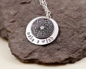 Make A Wish Dandelion Necklace - Sterling Silver and Fine Silver , Hand Stamped