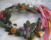 Adjustable Wool Needle Felted Flower Fairy Crown- Reserved